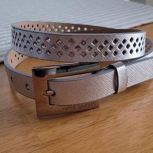 Vince Caputo Silver Laser Cut Leather Belt